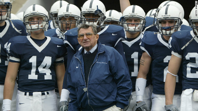 Penn State University head football coach Joe Paterno on the sidelines during a 2004 game. Paterno's legacy was tarnished in the wake of the Jerry Sandusky child abuse scandal. The fallout included NCAA sanctions in July 2012 that struck 111 of Paterno's 409 wins from the record book. The stripped victories stretched back to 1998 and removed Paterno's crown as winningest college football coach in history. He died of cancer in January.