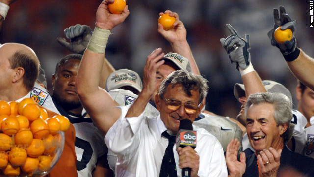 Paterno celebrates a triple-overtime Orange Bowl win over Florida State in Miami on January 3, 2006. Paterno has guided his teams to more bowl victories than any other college coach.