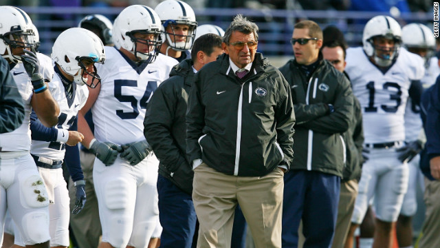 Paterno walks the sidelines in October 2009 in Evanston, Illinois. In December 2011, he was admitted to a hospital after fracturing his pelvis when he slipped and fell at his home in State College.