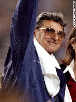Paterno celebrates after winning the Fiesta Bowl against Texas in 1997. Paterno was diagnosed with a treatable form of lung cancer, his son announced in November.