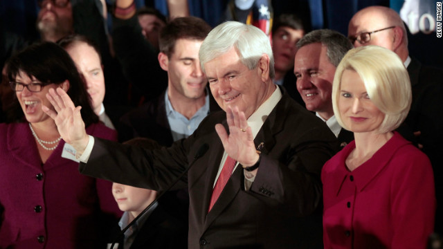 Newt Gingrich speaks to supporters after winning the South Carolina primary.