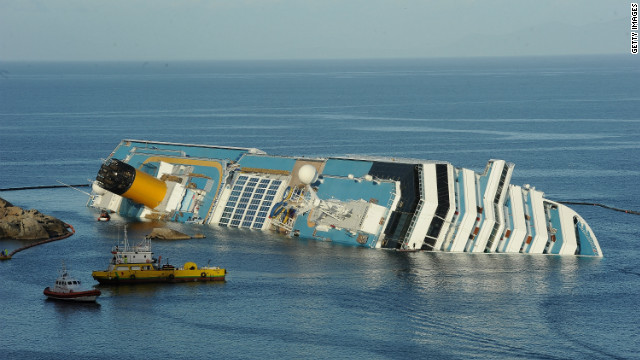 The cruise ship Costa Concordia lies stricken off the shore of the island of Giglio on January 21.