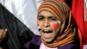 A girl shouts in Cairo\'s Tahrir Square in December 2011 as people gathered for a mass rally against the ruling military.