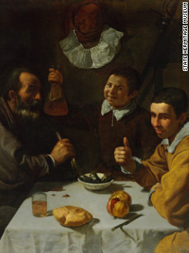 """Tavern Scene,"" by Diego Velázquez, is a rare, early work by the artist, from the Hermitage. <!-- --> </br><!-- --> </br>"
