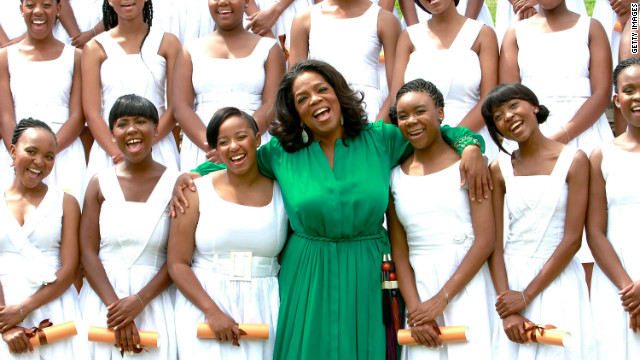 <br/>Oprah Winfrey flew to South Africa to attend the first graduation ceremony at her all-girls academy on January 14 2012.