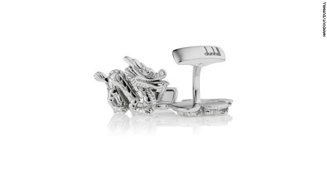 Menswear designer dunhill's polished sterling silver dragon cufflinks cost $275.