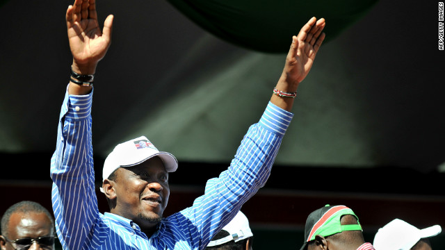 Kenya's Deputy Prime Minister, Uhuru Kenyatta, waves to supporters in Nairobi in April 2011.