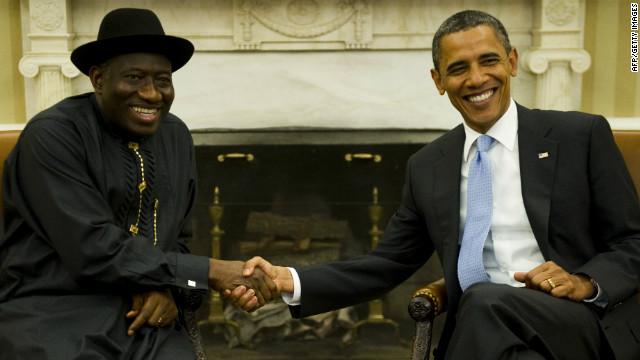 U.S. President Barack Obama shakes hands with Goodluck Jonathan during a bilateral meeting in the Oval Office of the White House June 8, 2011.