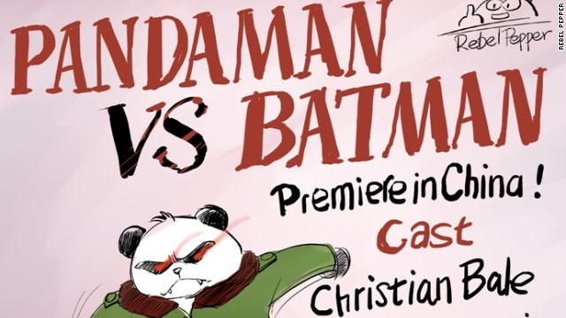 "The cartoonist first drew Pandaman after learning of ""Batman"" star Christian Bale's attempt to visit a blind Chinese activist."