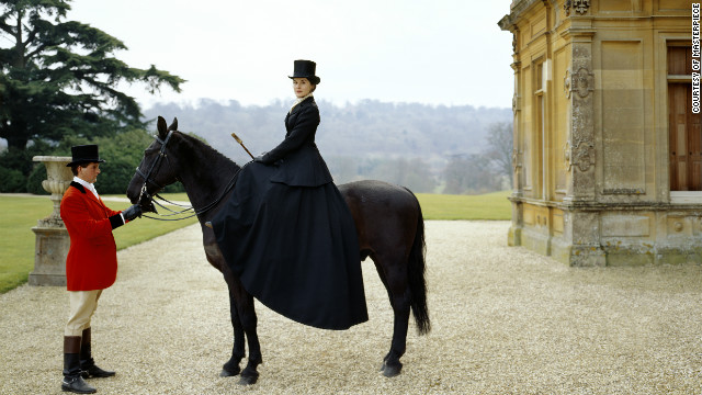 Viewers are also enchanted by the lifestyle portrayed in the series. Here, Lady Mary Crawley (played by Michelle Dockery) goes for a ride.