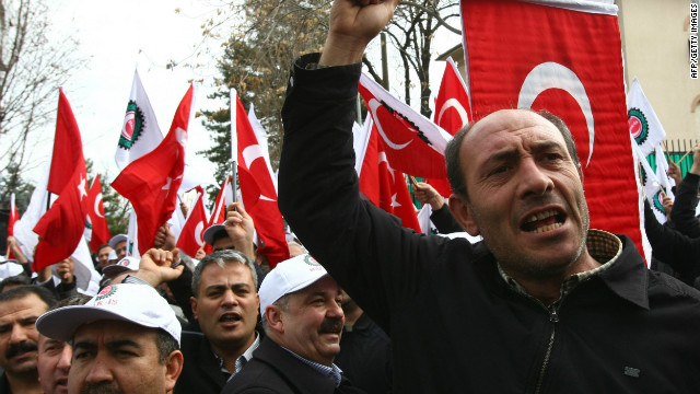 Members of a pro-government workers union protest outside the French Embassy in Ankara in December.