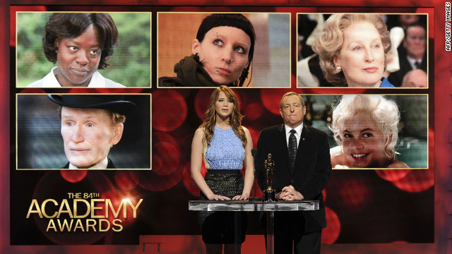 Actress Jennifer Lawrence and Tom Sherak, Academy of Motion Picture Arts and Sciences president, announce the nominees.