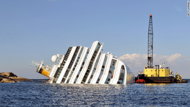 Salvage work on the stricken cruise ship Costa Concordia.