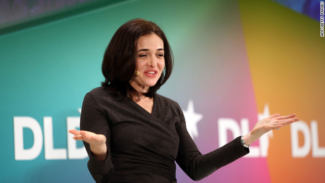 Sheryl Sandberg of Facebook delivers a keynote during the Digital Life Design conference in Munich.