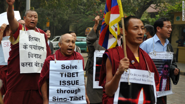 Tibetan protestors rally near the Chinese embassy in New Delhi on December 7, 2011. 
