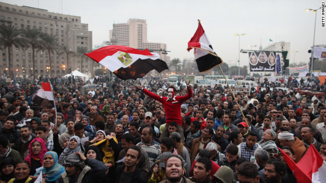 People gather in Tahir Square for the first anniversary of the Egyptian revolution January 25. Tens of thousands are expected.