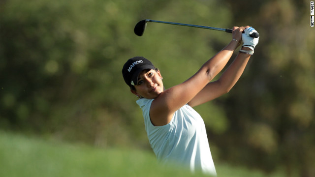 Haddioui plays an approach shot during last year's Lalla Meryem Cup on her home course. She finished an encouraging 25th in the Ladies' European Tour event.