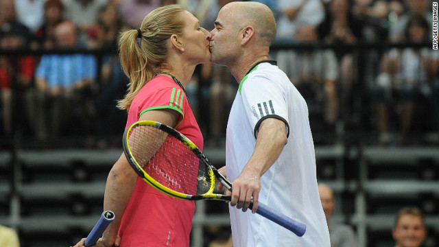 "Tennis' ultimate poster couple are still going strong after 10 years of marriage since reportedly getting together at the champions' ball after both won the French Open in 1999. They have two children and still play the odd charity match, but rarely battle each other. As their website reveals: ""Andre says his problem playing Steffi is not watching the ball."""