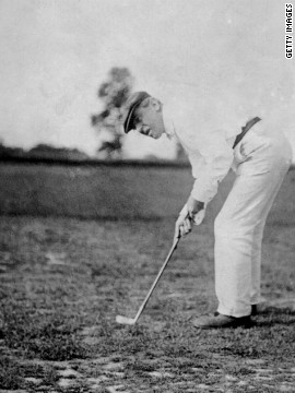 President Woodrow Wilson, the 28th U.S. president, plays golf in 1916. He played more golf than any other president, before or since.