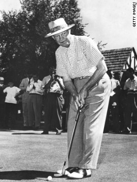 Arguably the president most associated with golf, Dwight D. Eisenhower lines up a shot in 1953. He often carried a club in the Oval Office and took swings while dictating to his secretary.