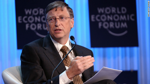 Microsoft founder Bill Gates speaks Thursday at the World Economic Forum in the Swiss resort of Davos.