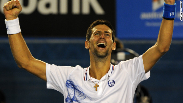 Defending champion Novak Djokovic celebrates after earning a place in Sunday's Australian Open final.