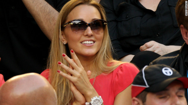 Djokovic's partner Jelena Ristic looked on appreciatively as the Serbian held on for a memorable victory.