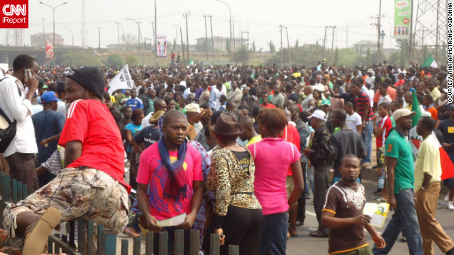 Nigerians took to the streets to speak out against the removal of a fuel subsidy, including this protest in Lagos earlier this month.