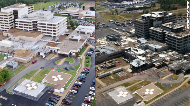 A photo shows the hospital before the tornado hit on May 22, 2011, left, and after the tornado. The building sustained significant damage during a direct hit.