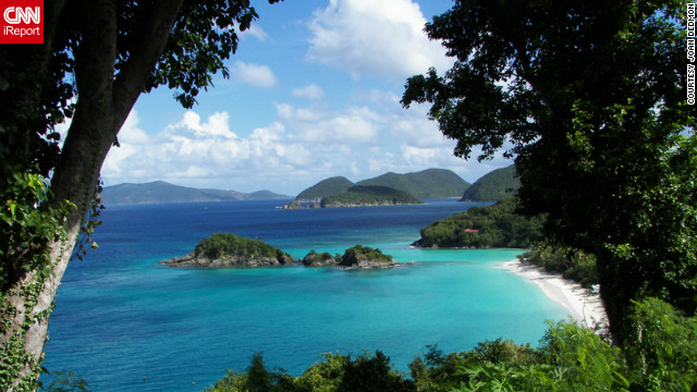 Joan Dedmon captured this serene view of Trunk Bay during a trip with her daughter. &quot;We found ourselves speechless with the beauty of the view of St. John Island in the distance. The jaw dropping views were non-stop throughout our adventures around the islands.&quot;