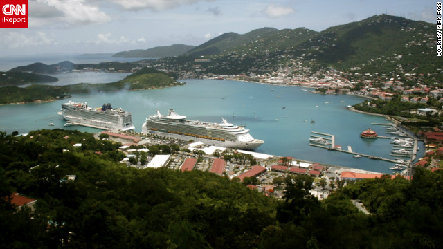 Kirk Ross captured this view of a busy St. Thomas from Paradise Point. &quot;With camera in one hand and a Bushwacker [a specialty drink from Paradise Point] in the other, this is the best view of St. Thomas.&quot;