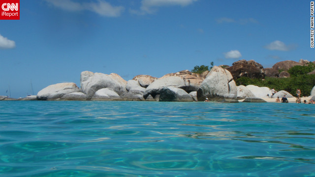 "Tanya Porter snapped this shot of The Baths while floating out in the water of Devil's Bay in Virgin Gorda. ""Being from Canada, I appreciate the beauty of the white sand beaches and the blue water."""