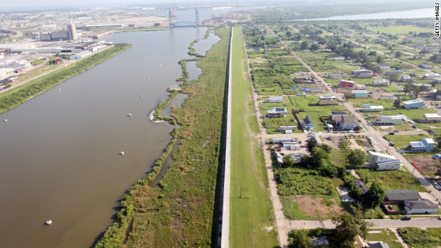 The Lower Ninth Ward, seen here in 2010, lies next to the repaired Industrial Canal levee wall in New Orleans.