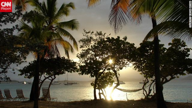 "Kiffin Bryan snapped this shot of the view from her hotel on St. John. ""The sun was setting and the light changed every five minutes, it was amazing. I couldn't resist sharing St John with everyone!"""
