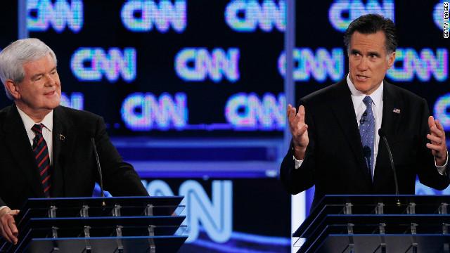 Mitt Romney makes a point at Thursday night's CNN/Republican Party of Florida debate