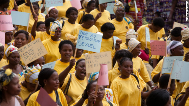 Abuse has been a major issue in the Democratic Republic of Congo for many years. In 2010, a World March of Women (pictured) was organised in Bukavu, South Kivu Province.