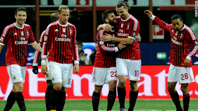 Zlatan Ibrahimovic is congratulated after scoring in AC Milan's win over Cagliari.