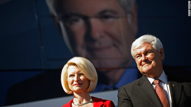 Newt Gingrich and his wife, Callista, hold a campaign rally at a retirement community Sunday in Sumter County, Florida. 
