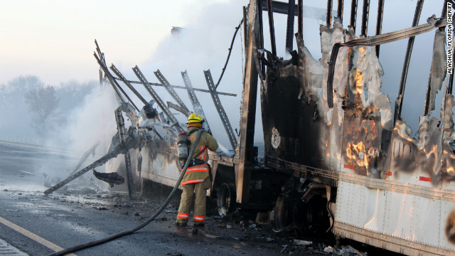 Crashes on Interstate 75 in Alachua County, Florida, on January 29 and 30 killed 11 people. Smoke from a brush fire cut visibility.