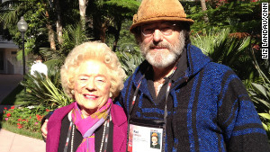 Paul Stamets poses for a photo with his mom, Patty, outside the TEDMED 2011 conference.