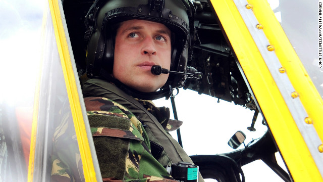 Prince William at the controls of a Sea King helicopter during a training exercise at Holyhead Mountain on March 31, 2011.