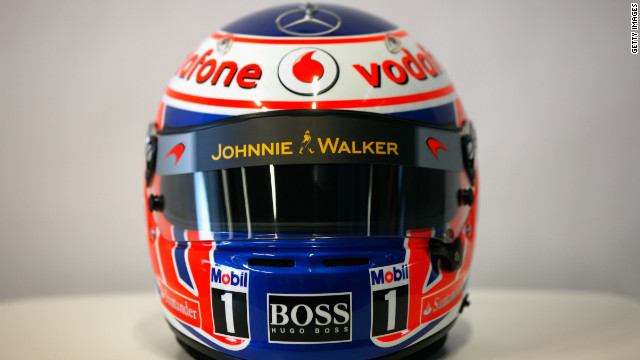 Button will race in this red, white and blue helmet in 2012 as he aims to improve on his second-place finish last season.