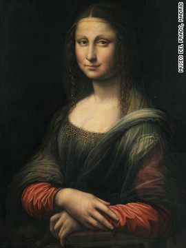 The painting -- discovered during restoration work on this portrait -- is thought to have been painted by a pupil of Leonardo around the same time as the original.