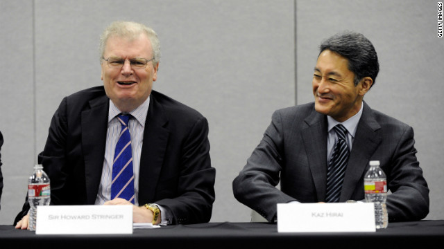 Chairman, CEO and President of Sony Corp. Sir Howard Stringer, left, and . Executive Deputy President Kazuo Hirai at the 2012 International Consumer Electronics Show in Las Vegas on January 10.