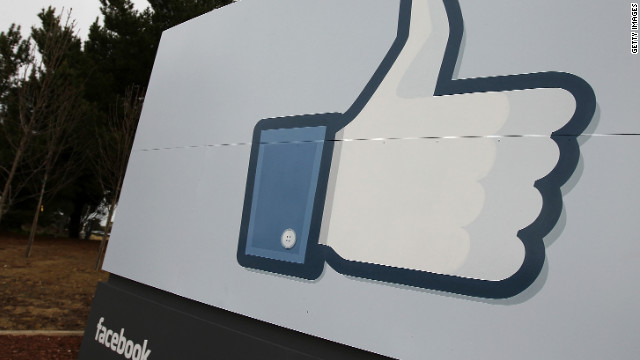 A sign at Facebook's headquarters in Menlo Park, California, shows the