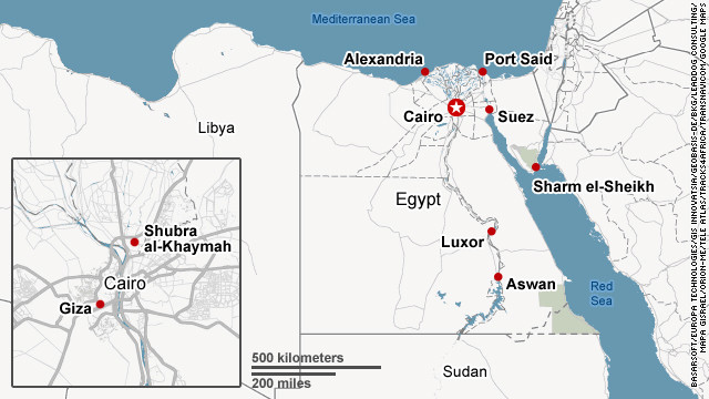 Map shows major Egyptian cities