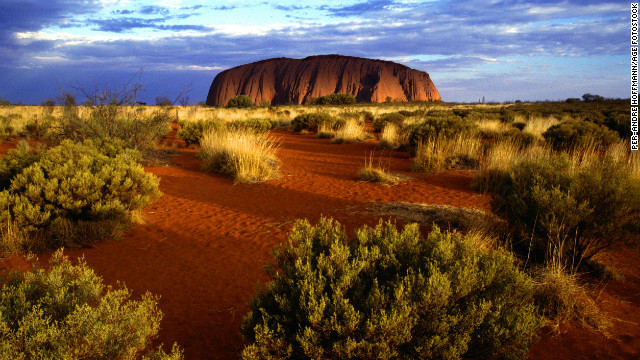 Sunset is striking at Ayers Rock in Australia's Northern Territory.