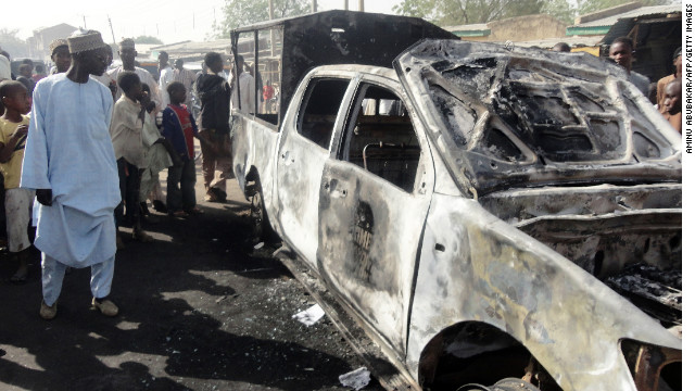 Recent destruction caused by Boko Haram attacks in the northern Nigerian city of Kano, pictured on January 25.