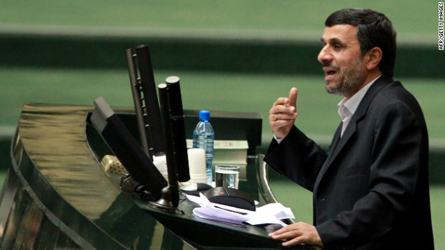 Iranian President Mahmoud Ahmadinejad addressing parliament in Tehran on February 1.