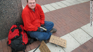 Justin Baranowski says police have been forcing him to move away from the Super Bowl Village because he\'s homeless.